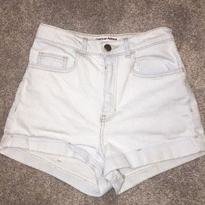 Light blue/white striped mom shorts